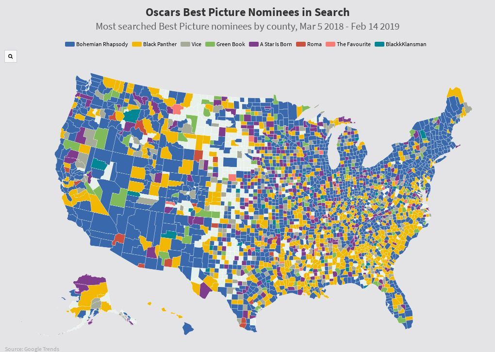 Oscars - Best Picture by County
